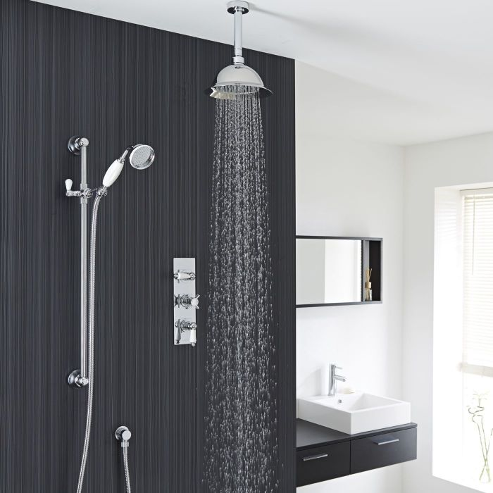 """Beaumont Thermostatic Shower System with 8"""" Rose & Ceiling Arm & Handset"""