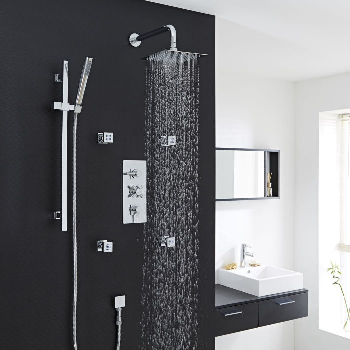 """Tec Thermostatic Shower System with 8"""" Square Head & Wall Arm , Handset & 4 Square Jet Sprays"""