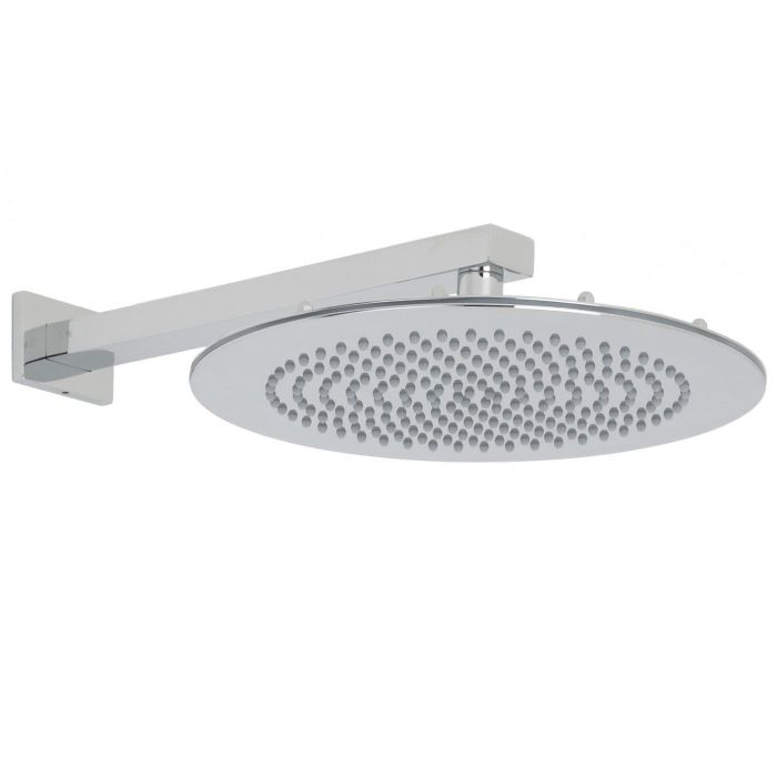 "Valquest 12"" Round Thin Shower Head with Rectangular Wall Arm"