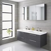 Langley - 55'' Gray Double Wall-Mount Bathroom Vanity