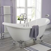 Traditional Acrylic Double Ended Roll Top Freestanding Slipper Bath Tub 70""