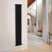 "Regent - Black Vertical 2-Column Traditional Cast-Iron Style Radiator - 70.75"" x 11.5"""