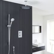 """Kristal Thermostatic 2 Outlet Shower System with 12"""" Ceiling Head & Handshower"""
