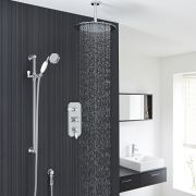 """Traditional Thermostatic Shower System with 12"""" Round Head & Ceiling Arm & Handset"""