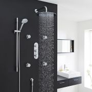 """Quest Thermostatic Shower System with 12"""" Round Head & Arm , Multi-function Handset & 4 Round Jet Sprays"""