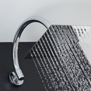 "Chrome 8"" Square Shower Head with Curved Wall Arm"