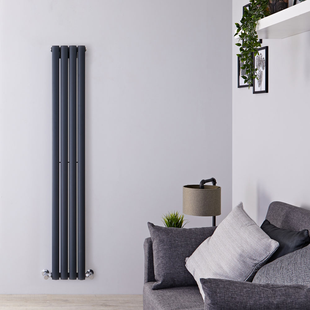 "Revive - Anthracite Vertical Single-Panel Designer Radiator - 63"" x 9.25"""