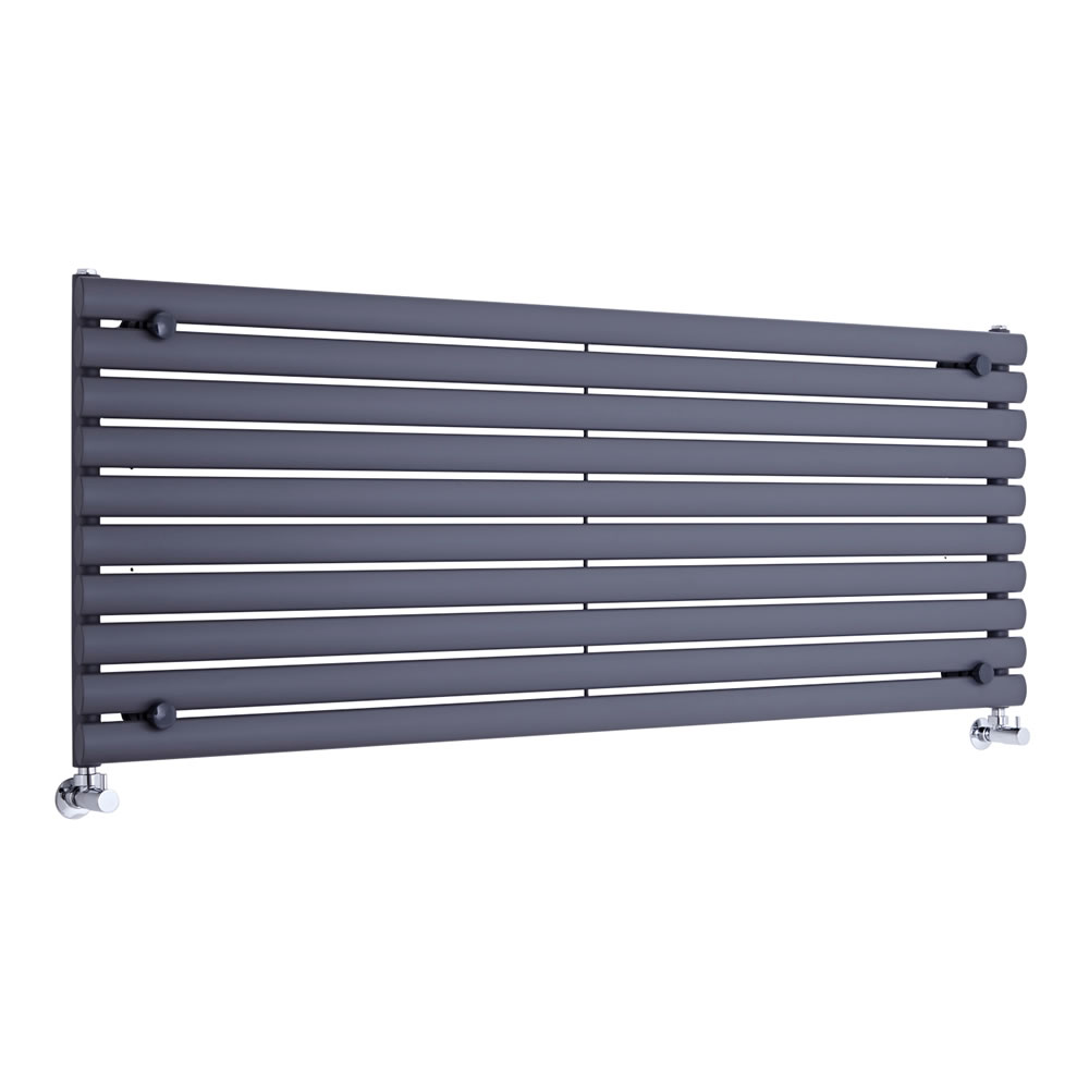"Revive - Anthracite Horizontal Single-Panel Designer Radiator - 23.25"" x 63"""