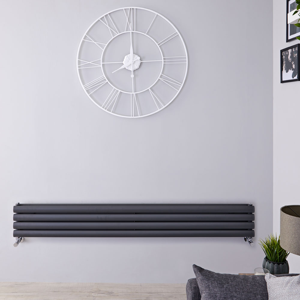 "Revive - Anthracite Horizontal Double-Panel Designer Radiator - 9.25"" x 63"""