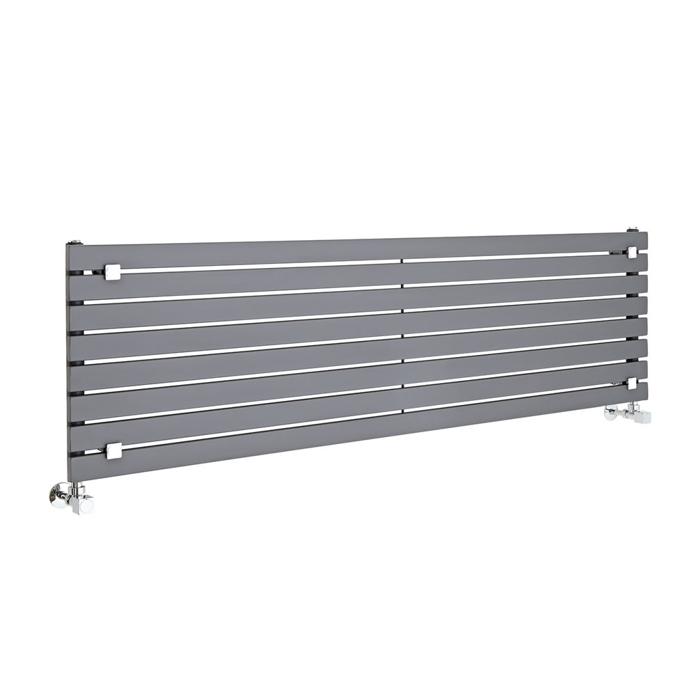 "Sloane - Anthracite Horizontal Single Flat-Panel Designer Radiator - 18.5"" x 63"""