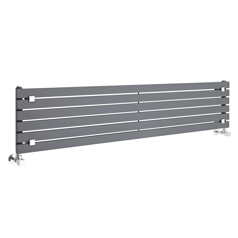 "Sloane - Anthracite Horizontal Single Flat-Panel Designer Radiator - 14"" x 63"""
