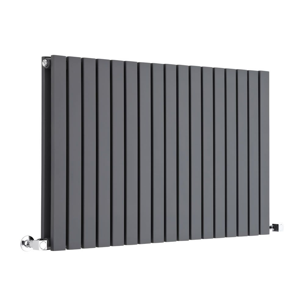 "Sloane - Anthracite Horizontal Double Flat-Panel Designer Radiator - 25"" x 39.25"""