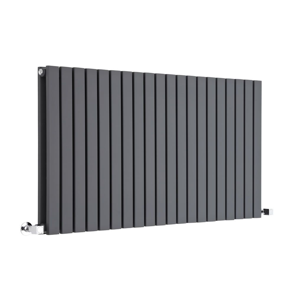 "Sloane - Anthracite Horizontal Double Flat-Panel Designer Radiator - 25"" x 46.5"""