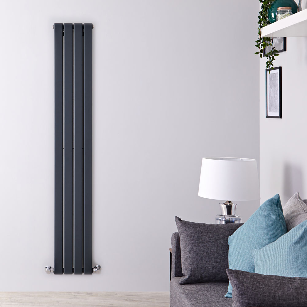 "Delta - Anthracite Vertical Double Slim-Panel Designer Radiator - 63"" x 11"""