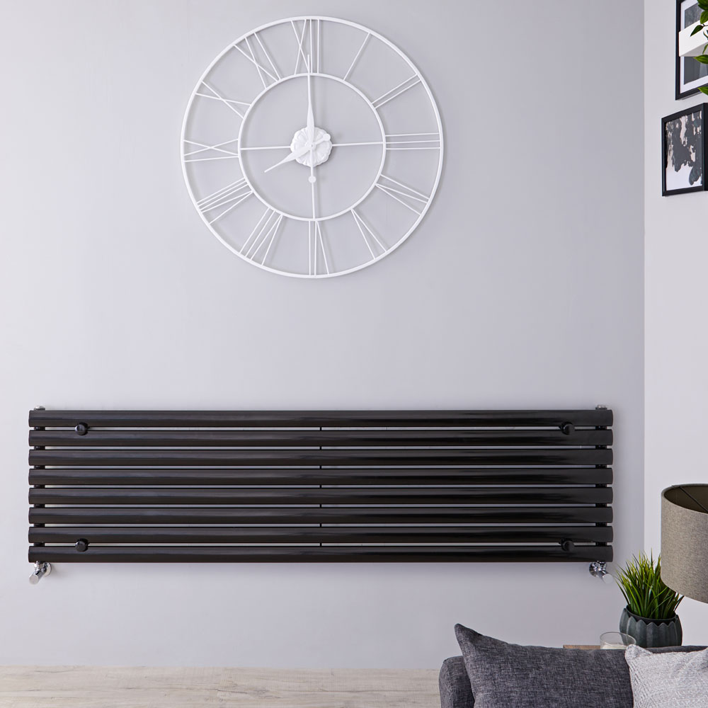 "Revive - Black Horizontal Single-Panel Designer Radiator - 18.5"" x 63"""