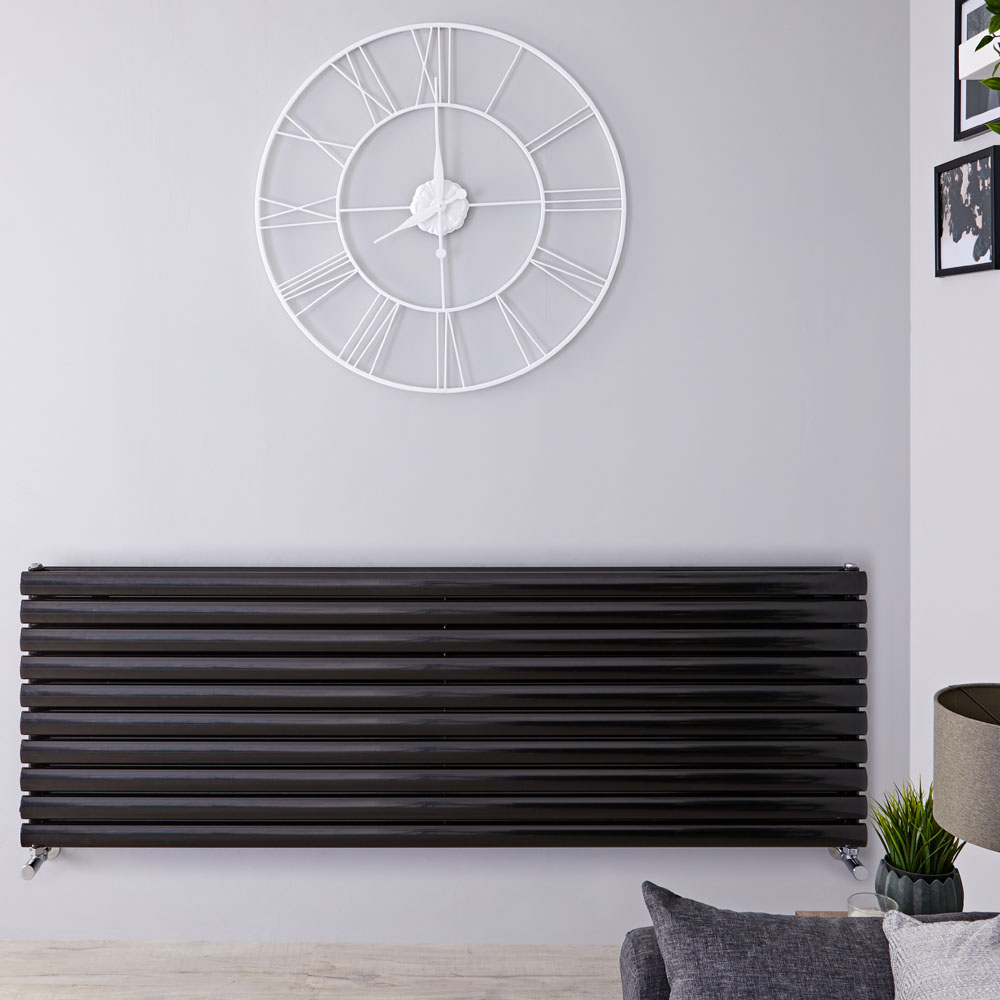 "Revive - Black Horizontal Double-Panel Designer Radiator - 23.25"" x 63"""