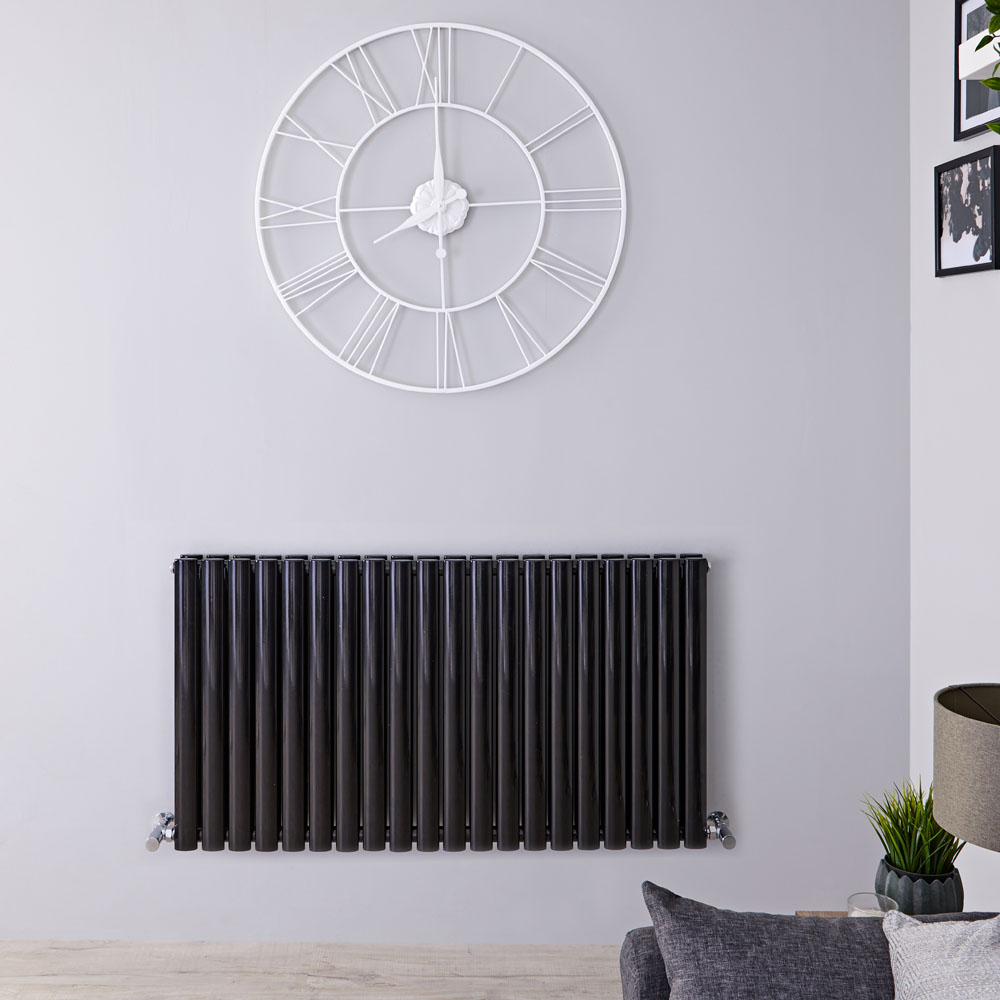 "Revive - Black Horizontal Double-Panel Designer Radiator - 25"" x 46.5"""