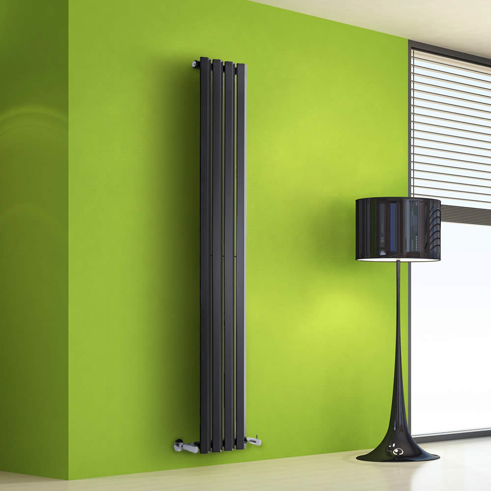 "Edifice - Black Vertical Single-Panel Designer Radiator - 63"" x 11"""