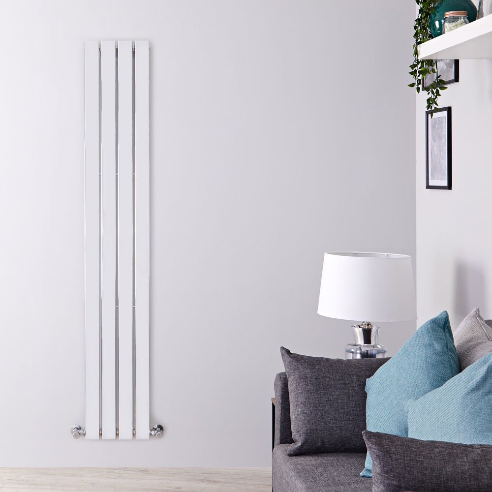 "Delta - Chrome Vertical Single Slim-Panel Designer Radiator - 63"" x 11.75"""