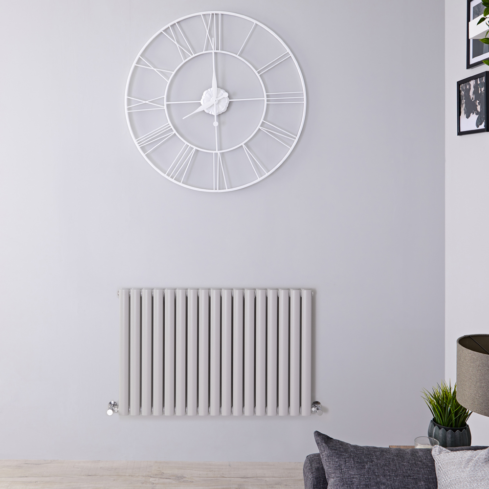 "Revive - Light Gray Horizontal Double-Panel Designer Radiator - 25"" x 39.25"""