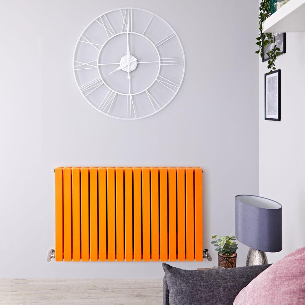 "Sloane - Light Orange Double Flat Panel Horizontal Designer Radiator - 25"" x 39.5"""