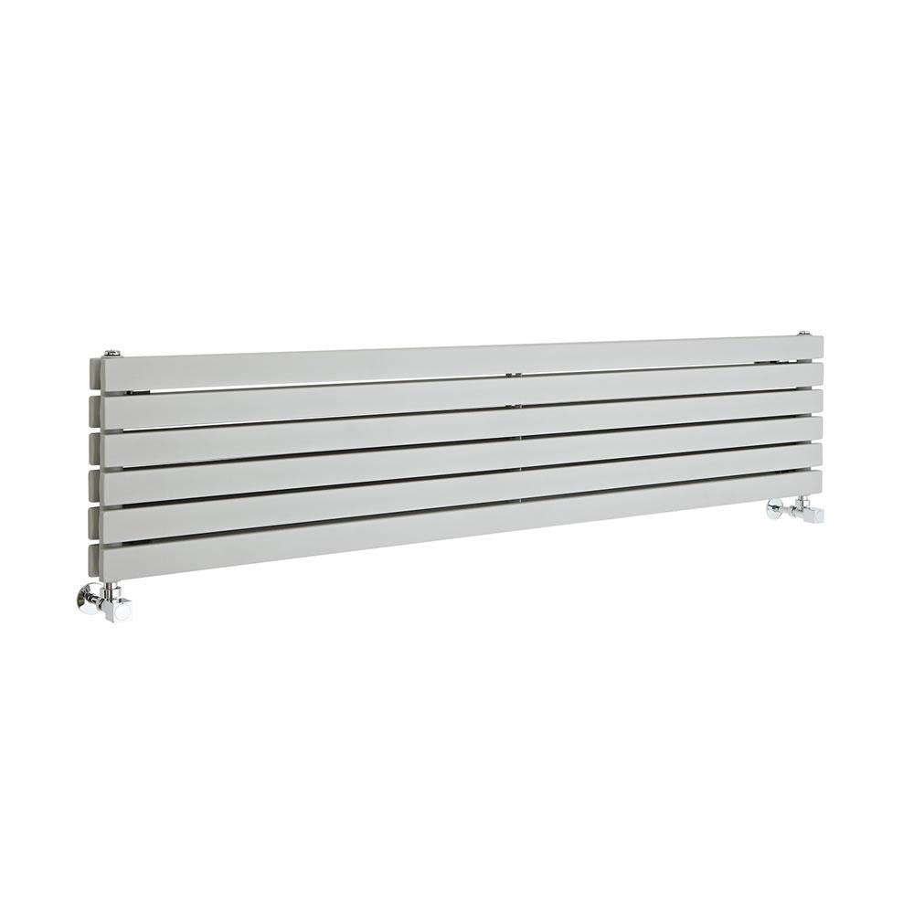 "Sloane - Silver Horizontal Double Flat-Panel Designer Radiator - 14"" x 63"""