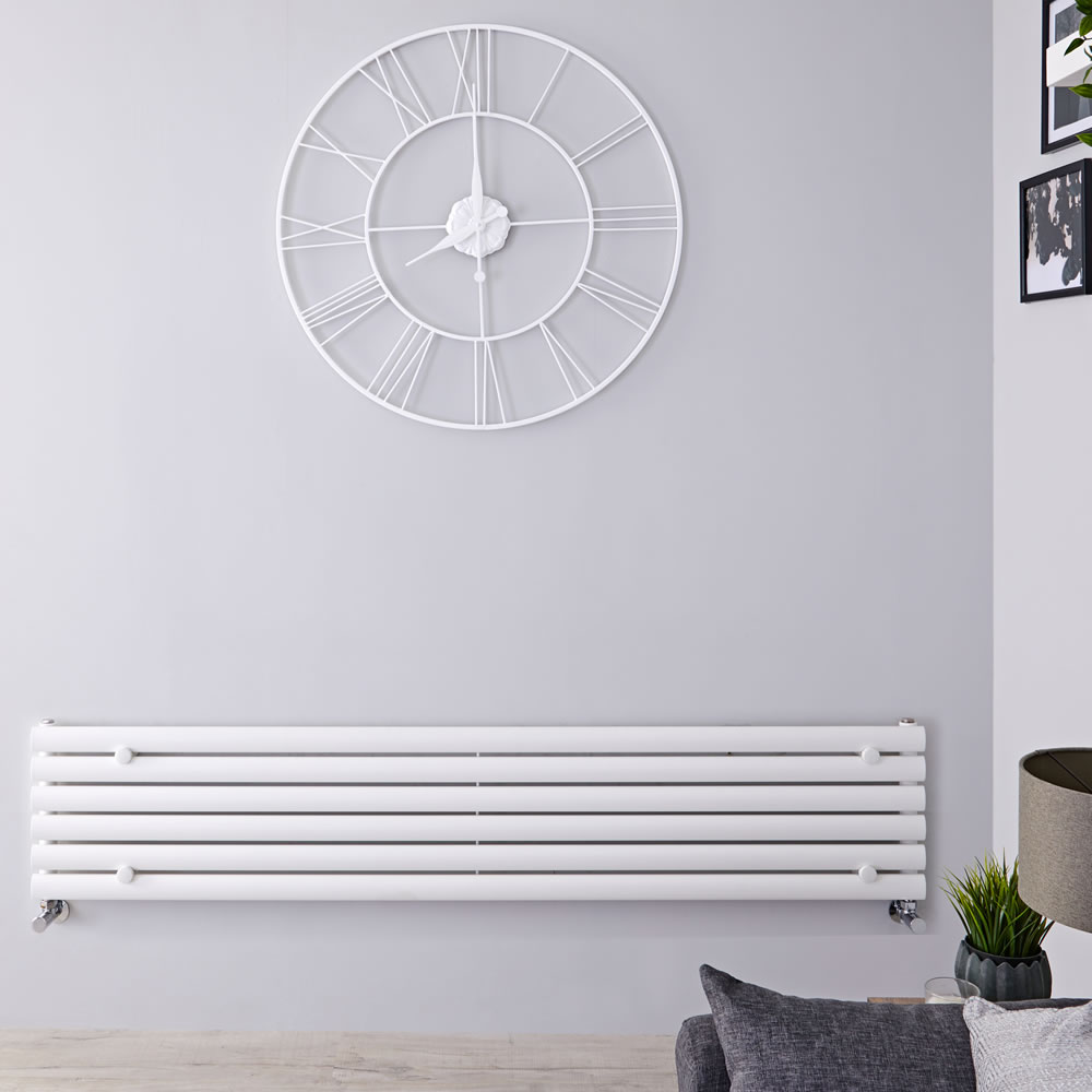 "Revive - White Horizontal Single-Panel Designer Radiator - 14"" x 63"""