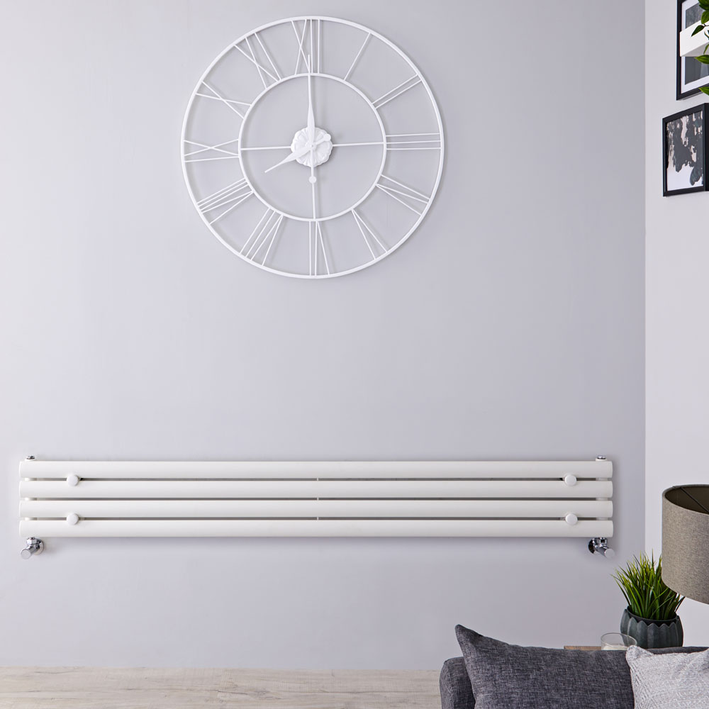 "Revive - White Horizontal Single-Panel Designer Radiator - 9.25"" x 63"""