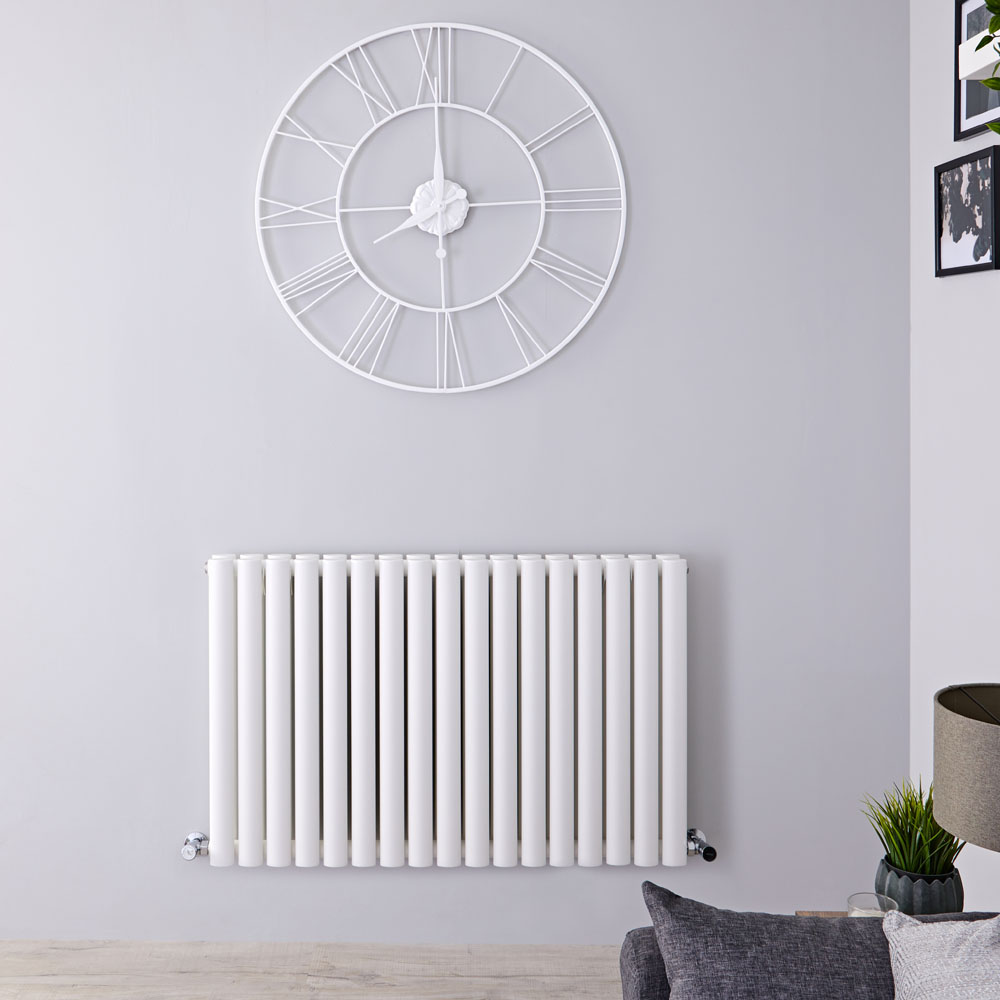 "Revive - White Horizontal Double-Panel Designer Radiator - 25"" x 39.25"""