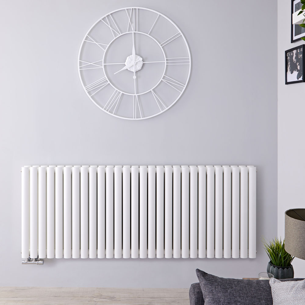 "Revive Caldae - White Horizontal Double-Panel Designer Radiator - 25"" x 64.75"""