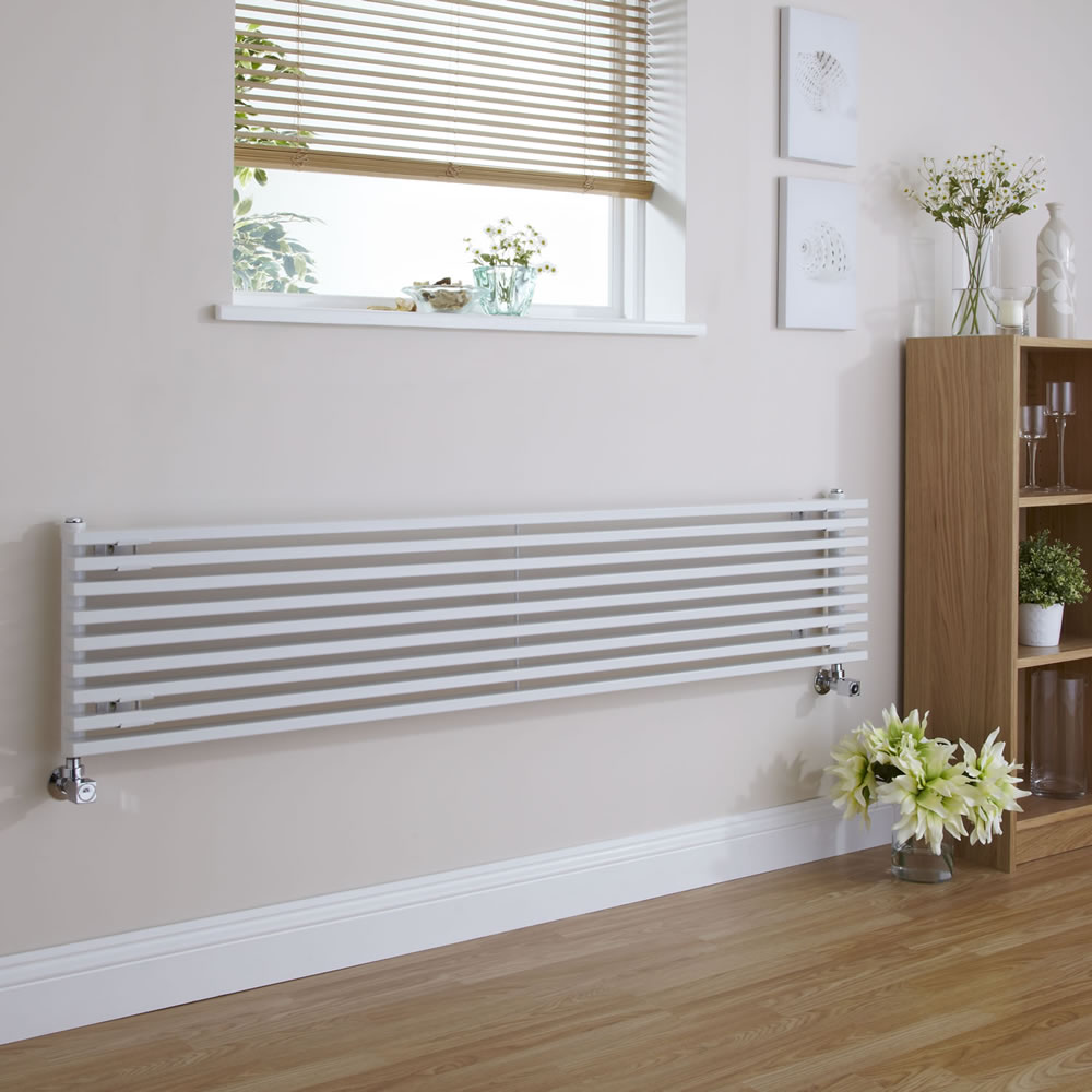"Fin - White Horizontal Single-Panel Designer Radiator - 13.5"" x 63"""
