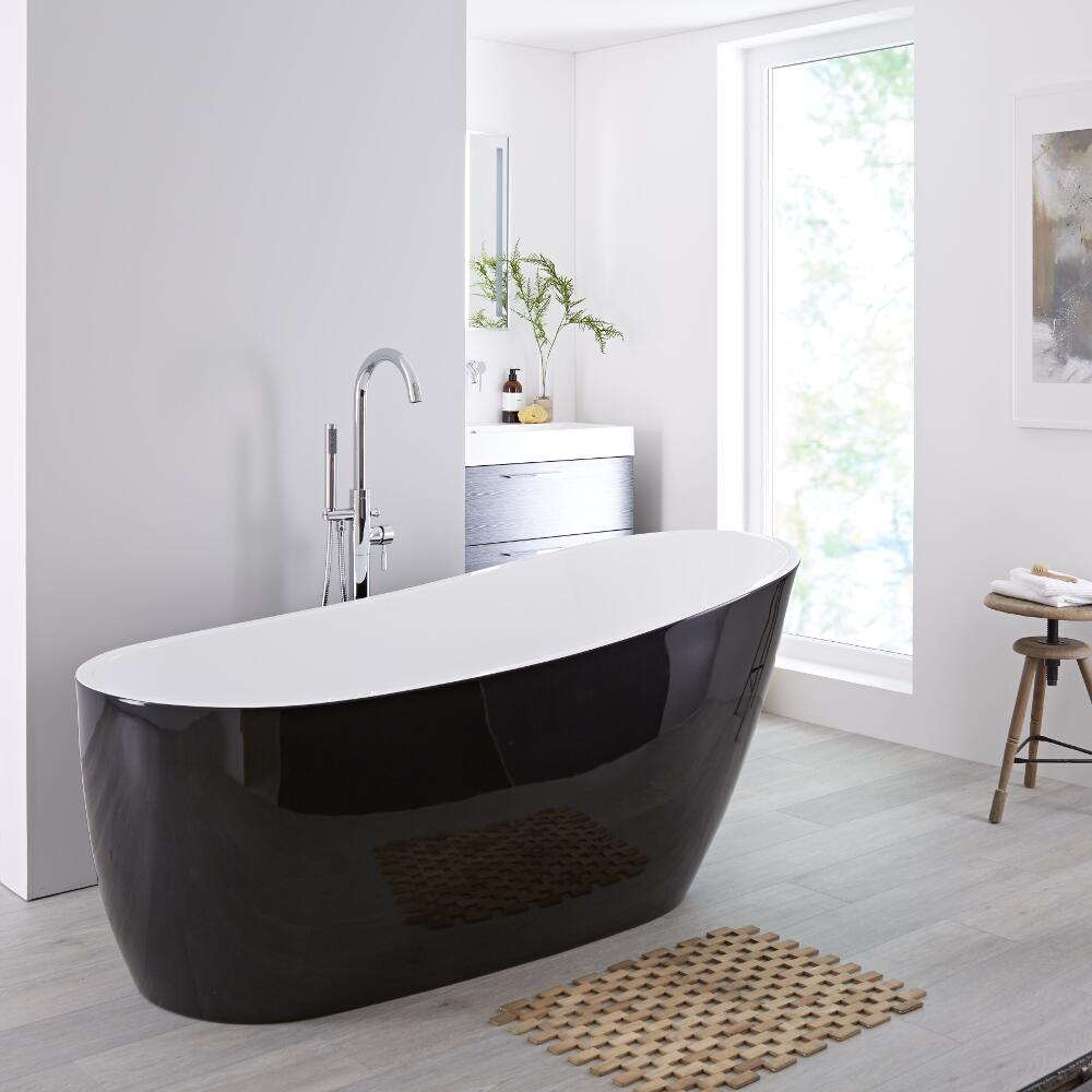 Modern Black Freestanding Single Ended Bath Tub 70""