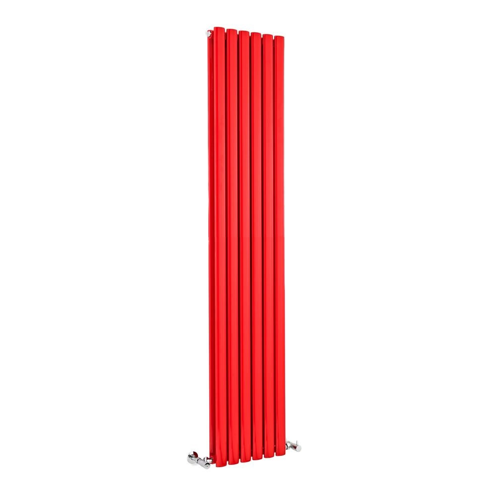 "Revive - Red Vertical Double-Panel Designer Radiator - 70.75"" x 14"""