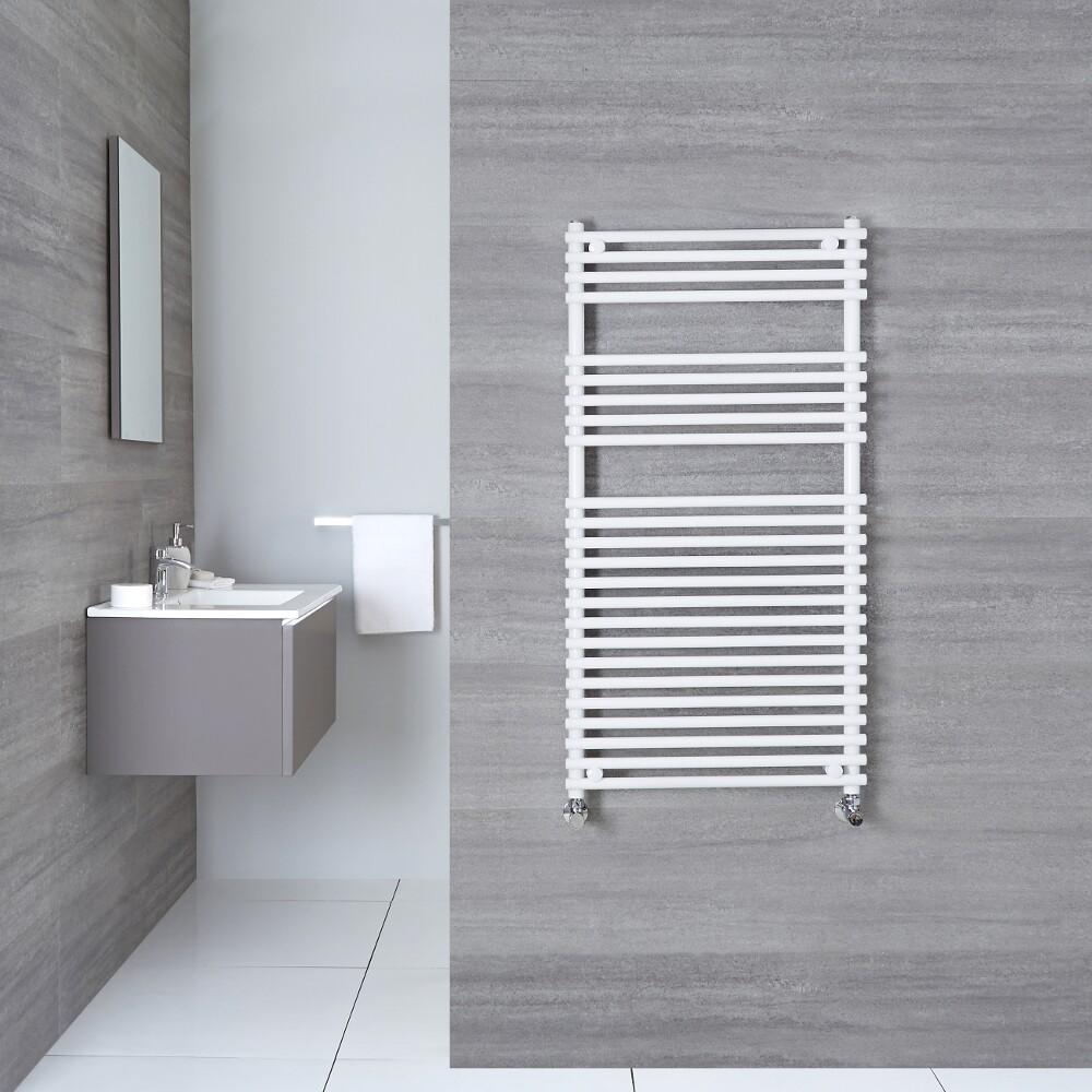 "Ischia - Hydronic White Heated Towel Warmer - 45.25"" x 17.75"""