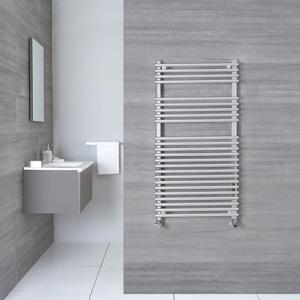 "Ischia - Hydronic Chrome Heated Towel Warmer - 45.25"" x 23.5"""