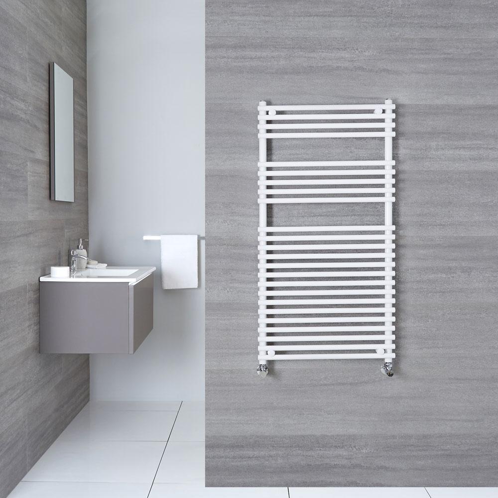 "Ischia - Hydronic White Heated Towel Warmer - 45.25"" x 23.5"""