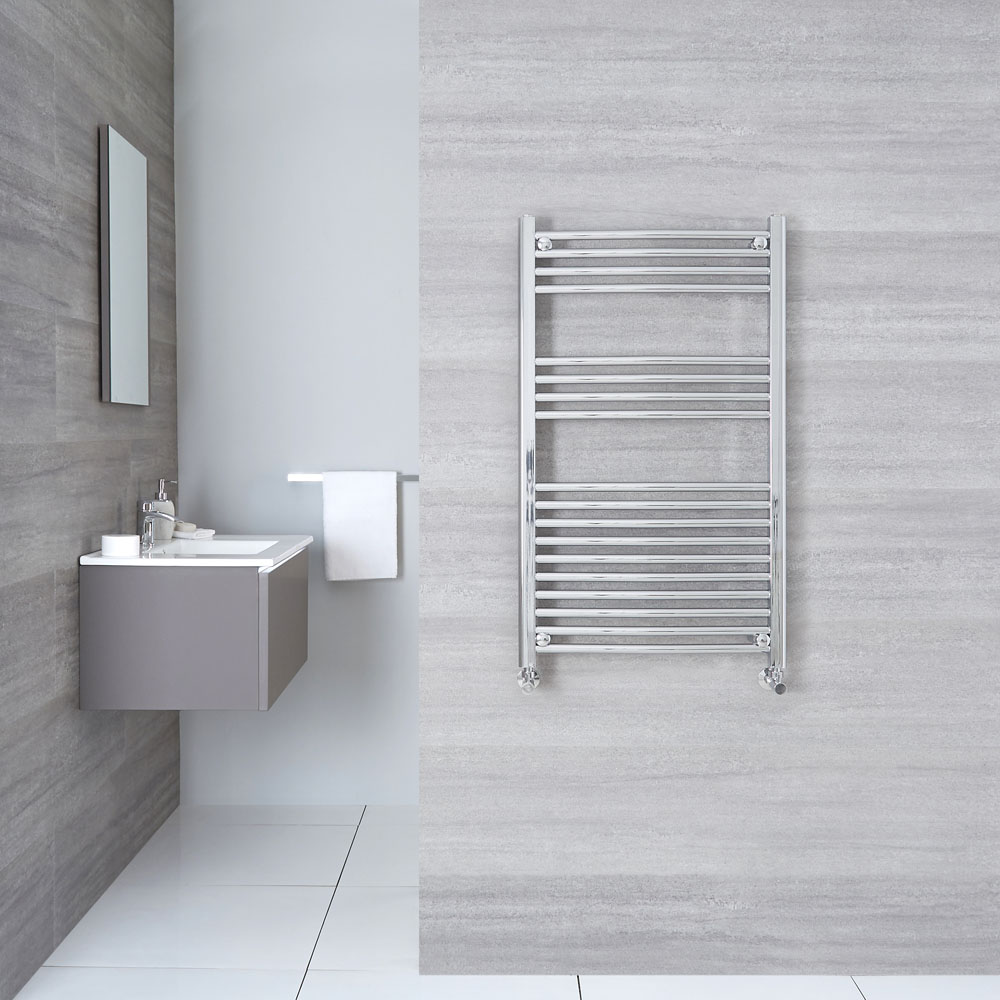 "Linosa - Hydronic Chrome Curved Heated Towel Warmer - 39.25"" x 19.75"""