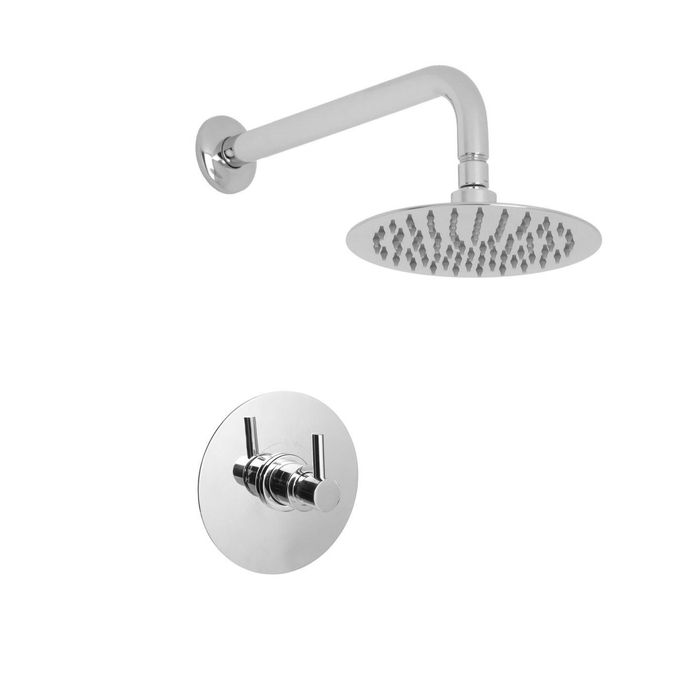 "Valquest 1/2"" Sequential Valve with 8"" Round Thin Shower Head & Wall Arm"