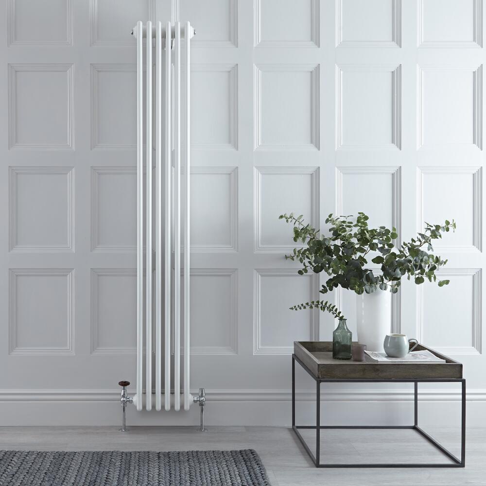 "Regent - White Vertical 4-Column Traditional Cast-Iron Style Radiator - 70.75"" x 10.75"""
