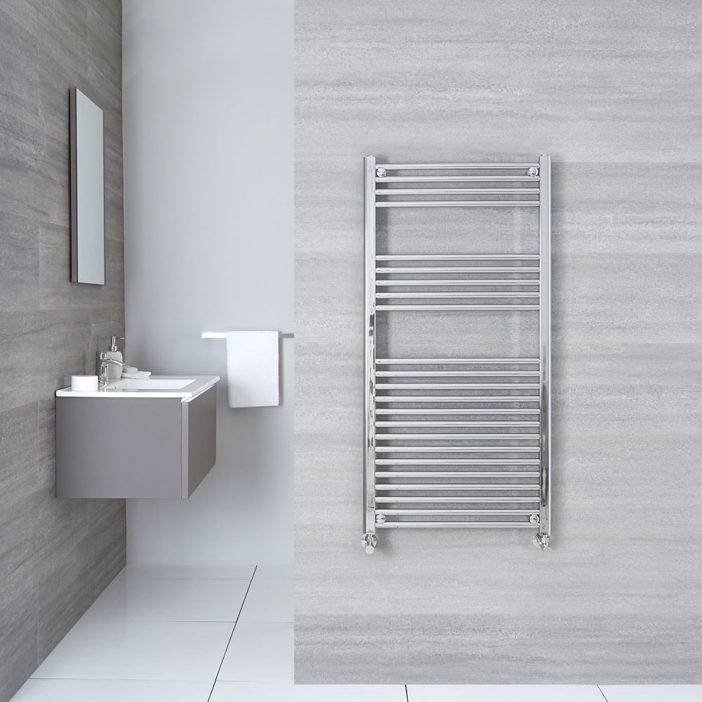 "Linosa - Hydronic Chrome Flat Heated Towel Warmer - 47.25"" x 19.75"""