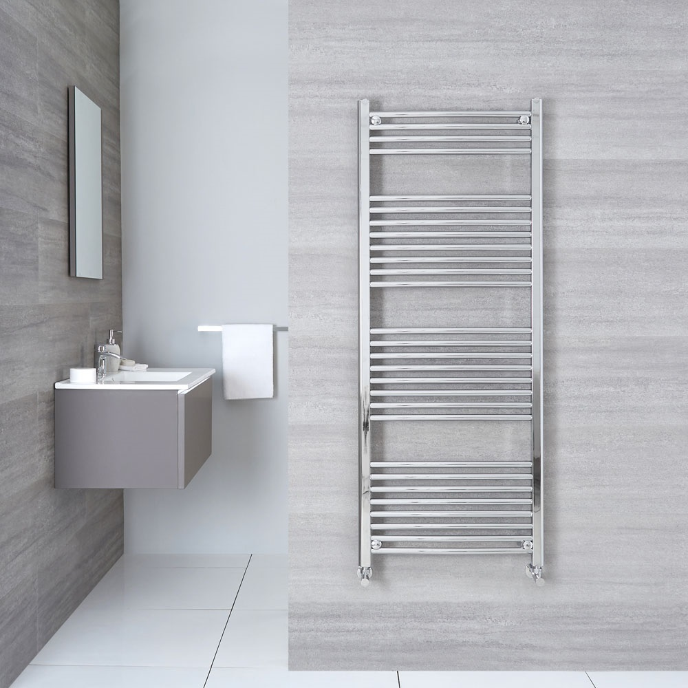 "Linosa - Hydronic Chrome Curved Heated Towel Warmer - 59"" x 23.5"""