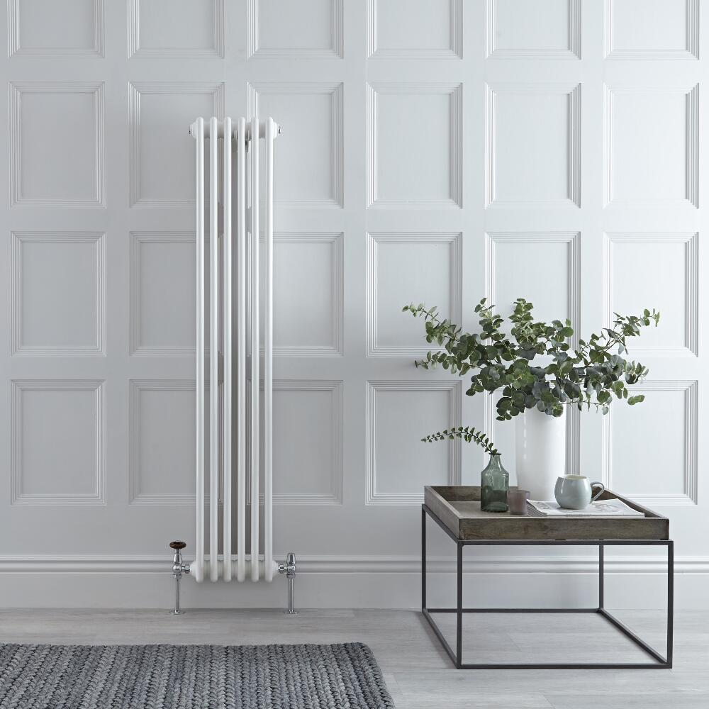 "Regent - White Vertical 3-Column Traditional Cast-Iron Style Radiator - 59"" x 11.5"""