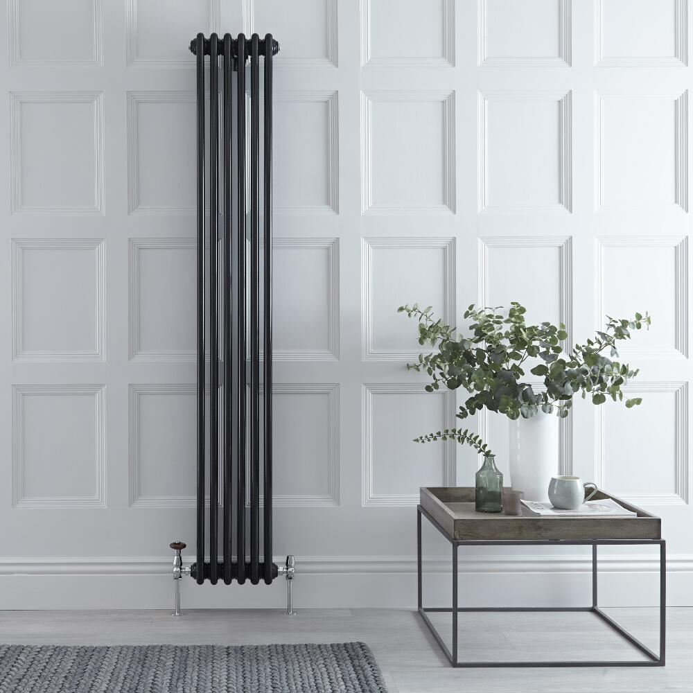 "Regent - Black Vertical 3-Column Traditional Cast-Iron Style Radiator - 70.75"" x 11.5"""