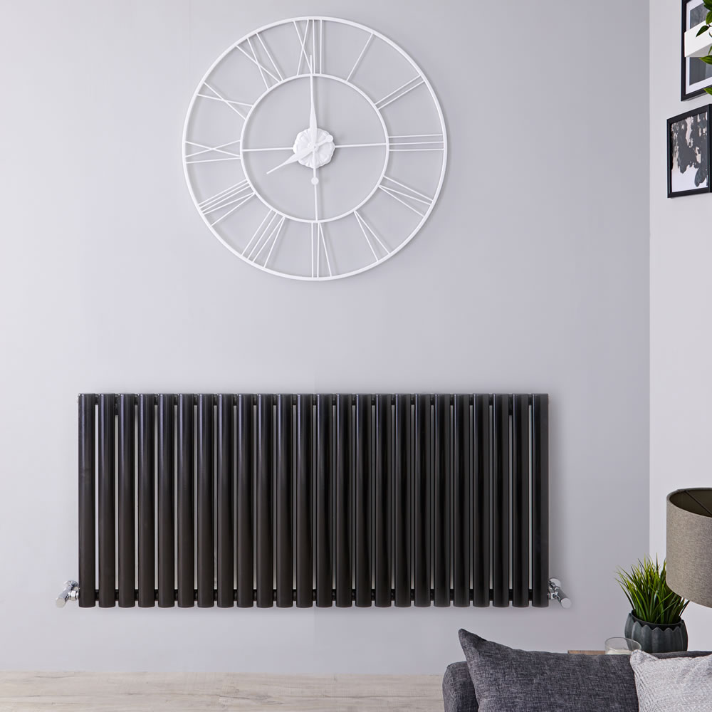 "Revive - Black Horizontal Single-Panel Designer Radiator - 25"" x 55.5"""