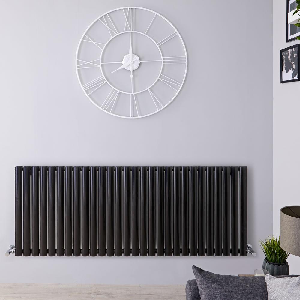 "Revive - Black Horizontal Single-Panel Designer Radiator - 25"" x 64.75"""