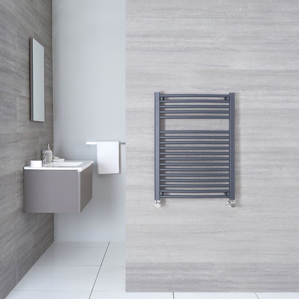 "Loa - Hydronic Anthracite Curved Heated Towel Warmer - 31.5"" x 19.75"""