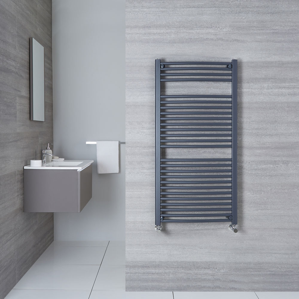 "Loa - Hydronic Anthracite Curved Heated Towel Warmer - 47.25"" x 23.5"""