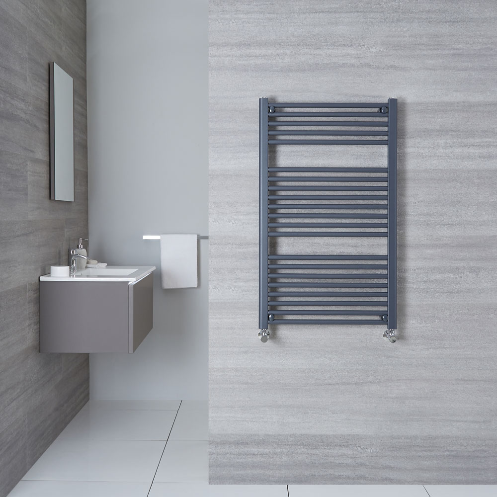 "Loa - Hydronic Anthracite Flat Heated Towel Warmer - 39.25"" x 23.5"""