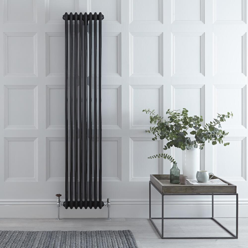 "Regent - Black Vertical 3-Column Traditional Cast-Iron Style Radiator - 70.75"" x 15"""