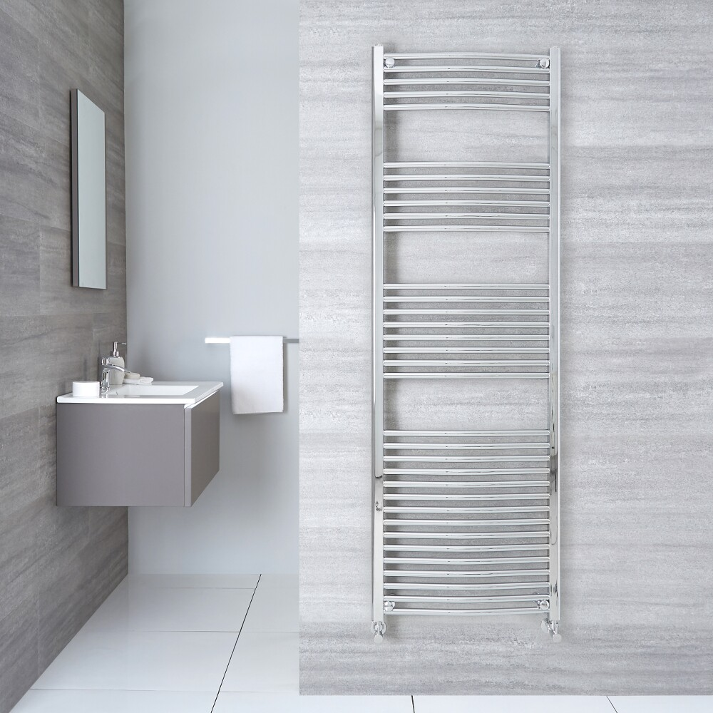 "Etna - Hydronic Chrome Curved Heated Towel Warmer - 70.75"" x 19.75"""